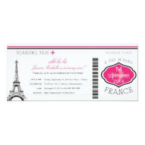 Birthday Boarding Pass to Paris Invitations