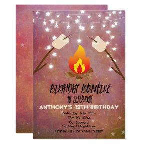 Birthday Bonfire Campout Birthday Party Invitation