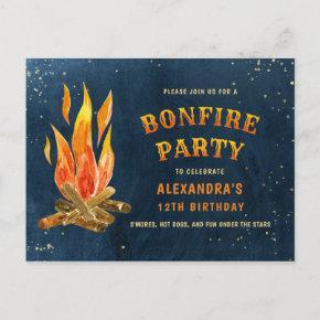 Birthday Bonfire Party Watercolor Invitation Post