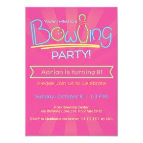 Birthday Bowling Party-Pink Card