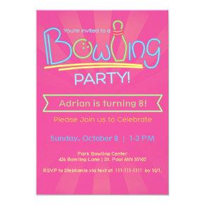 Birthday Bowling Party-Pink Invitation