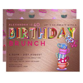 BIRTHDAY BRUNCH Rose Gold - ANY AGE Invites