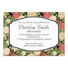 Birthday Brunch Vintage Spring Botanical Print Invitation