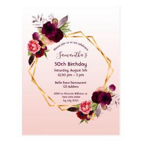 Birthday burgundy floral rose gold invitation post