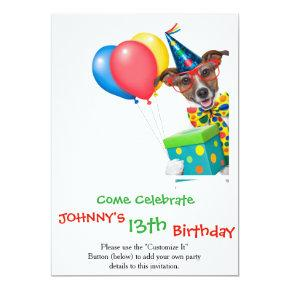 Birthday Dog With Balloons Tie and Glasses Invitation