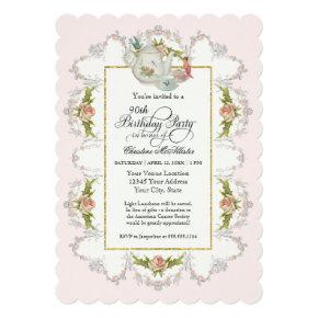 Birthday Fairy Tea Party, Roses Teapot n Cups Invitation