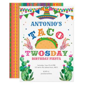 Birthday Fiesta, Taco Twosday, Boy 2nd birthday Invitation