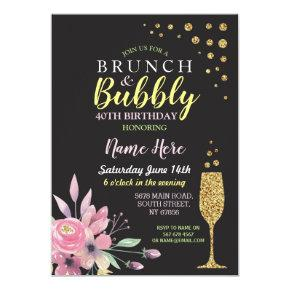 Birthday Floral Brunch & Bubbly Pink Invite