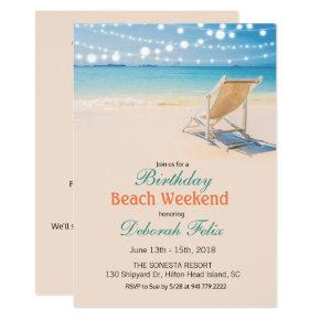 Birthday Getaway String Lights Beach Invitation