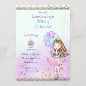 Birthday Girl Princess Cupcake Balloons Lavender Invitation