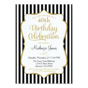 Birthday Invitation Black Gold Elegant Stripe