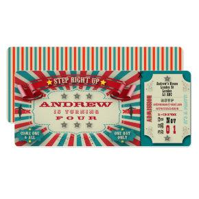 Birthday Invitation Circus Ticket - personalize