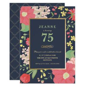 Birthday Invitations - Gold, Elegant Floral