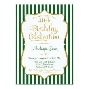 Birthday Invitation Hunter Green Gold Adult