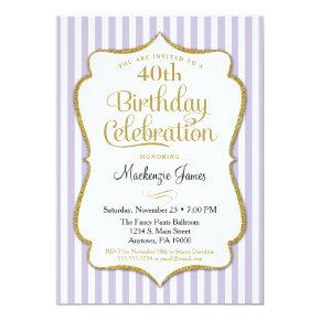 Birthday Invitation Lavender Lilac Gold Adult Teen