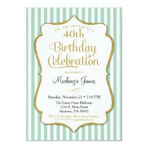 Birthday Invitation Mint Green Gold Adult Teen
