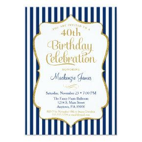 Birthday Invitations Navy Blue Gold Adult