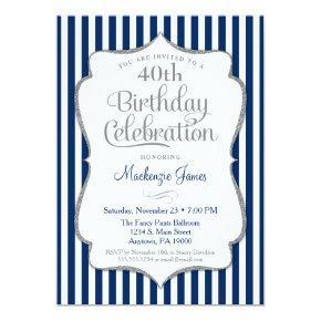 Birthday Invitations Navy Blue Silver Adult
