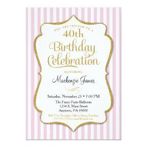 Birthday Invitation Pink Gold Adult Teen Tween