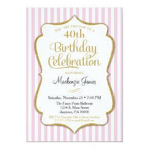 Birthday Invitation Pink Gold Adult Teen Tween