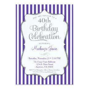 Birthday Invitation Purple Silver Adult