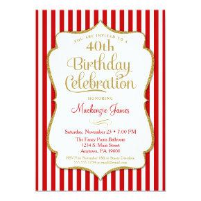 Birthday Invitation Red Gold Adult Teen Tween