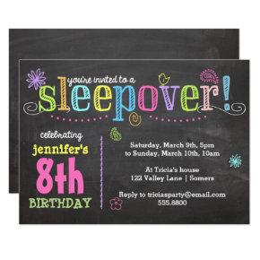 Birthday Invitation-Sleepover Party, Chalk + Neon Invitation