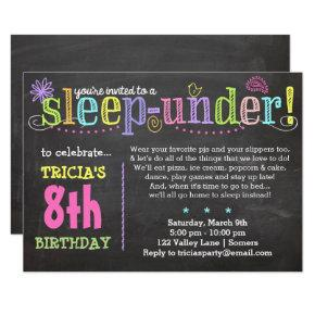 Birthday Invitation-SleepUNDER Party, Neon Invitation