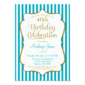 Birthday Invitation Turquoise Aqua Gold Adult Teen