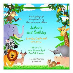 Birthday Jungle Animals Flat Invitation