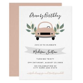 Birthday parade drive by pink car green foliage invitation