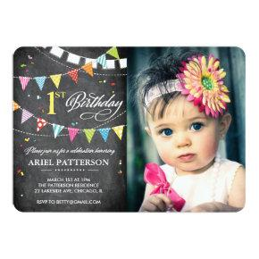 Birthday Party | 1st Birthday Flags Chalkboard Invitation