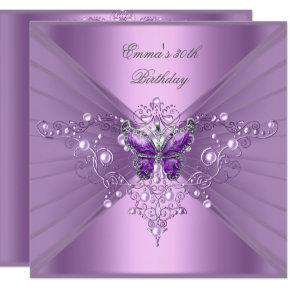 Birthday Party 30th Lilac Pearl Purple Butterfly Invitation
