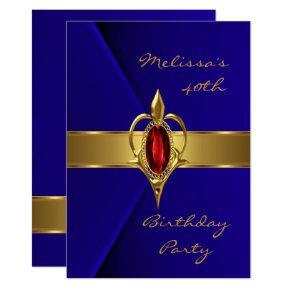 Birthday Party 40th Blue Faux Velvet Red gold Gem Invitation