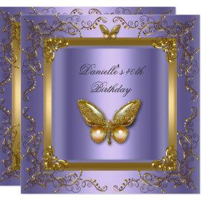 Birthday Party 40th Gold Purple Butterfly Invitations