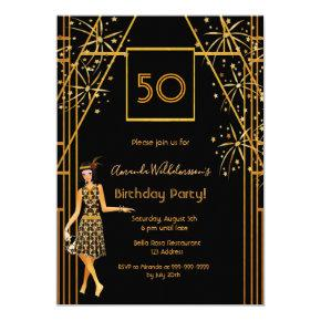 Birthday Party black gold 1920's style fireworks Invitation