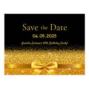 Birthday party black gold bow save the date post