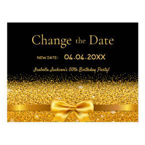 Birthday party black gold glitter change the date post