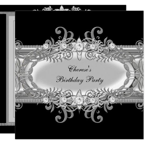 Birthday Party Black White Silver Jewel Image Invitations