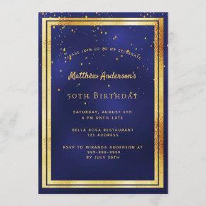 Birthday party blue gold confetti sprinkle invitation