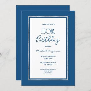 Birthday party blue white silver simple invitation