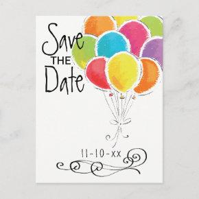 Birthday Party Colorful Balloons Save the Date Announcement Post