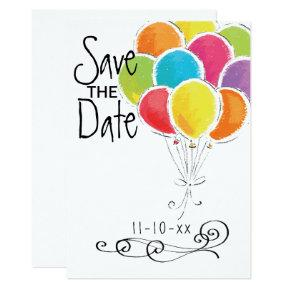 Birthday Party Colorful Balloons Save the Date Card