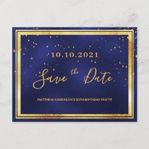 Birthday party dark blue gold save the date post