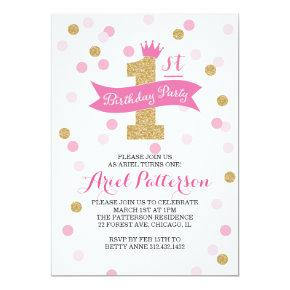 Birthday Party | First Birthday Princess Invitation
