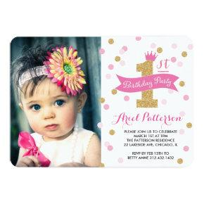 Birthday Party | First Birthday Princess Photo Invitation