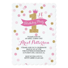 Birthday Party | First Birthday Princess Scalloped Invitation