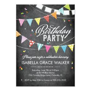 Birthday Party | Glitter Confetti Chalkboard Invitation
