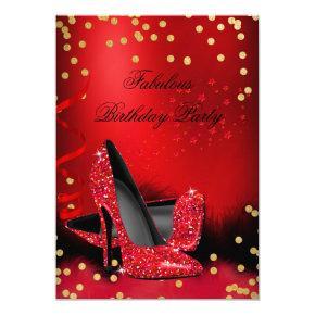 Birthday Party Glitter Red High Heels Gold Black Invitation