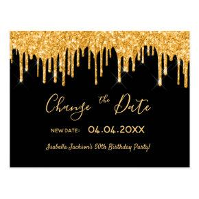 Birthday party gold glitter black change the date post